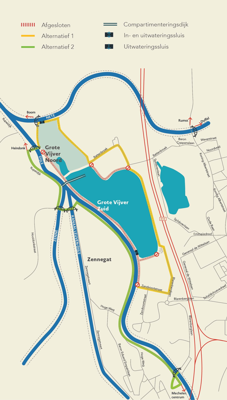 Canal Louvain-Dyle et Senne : construction des ponts cyclistes Omleiding-grote-vijver-oktober-2019